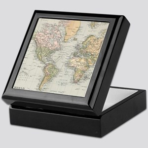 Vintage Map of The World (1892) Keepsake Box
